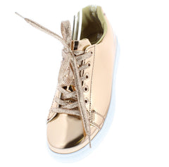 ACTION02 ROSE GOLD MIRROR FINISH METALLIC SNEAKER FLAT - Wholesale Fashion Shoes