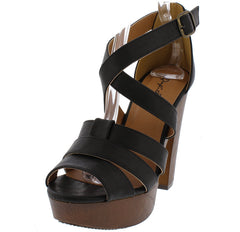 ACTIVE17A BLACK OPEN TOE MULTI STRAP CRISSCROSS PLATFORM HEEL - Wholesale Fashion Shoes
