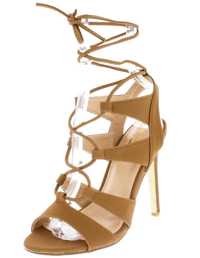 Ada1 Camel Nubuck  Peep Toe Lace Up Stiletto Heel - Wholesale Fashion Shoes