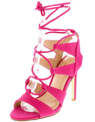 ADA1 FUCHSIA NUBUCK  PEEP TOE LACE UP STILETTO HEEL - Wholesale Fashion Shoes