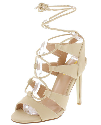 Ada1 Nude Nubuck Peep Toe Lace Up Stiletto Heel - Wholesale Fashion Shoes