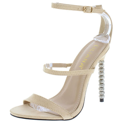 Grace217 Nude Tri Strap Rhinestone Detailed Stiletto Heel - Wholesale Fashion Shoes