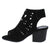 Addie03 Black Laser Cut Open Toe Cut Out Stacked Heel