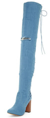 Staurt Demin Rear Lace Up Chunky Heel Over the Knee Boot - Wholesale Fashion Shoes