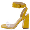 Addison Mustard Crocodile Lucite Ankle Wrap Angled Heel - Wholesale Fashion Shoes