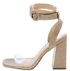 Addison Nude Crocodile Lucite Ankle Wrap Angled Heel - Wholesale Fashion Shoes