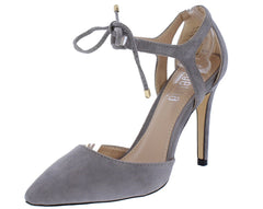 Adele1 Grey Pointed Toe Cut Out Ankle Tie Heel - Wholesale Fashion Shoes
