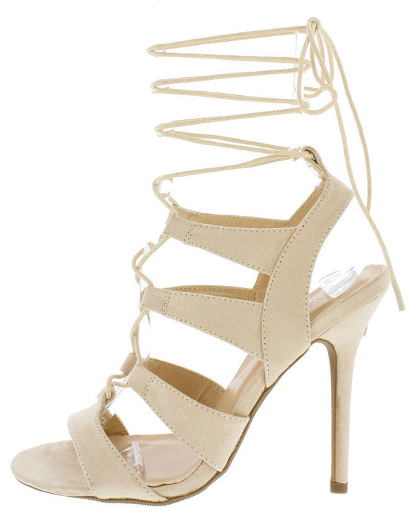 0a7edadd3305 Adele236 Natural Strappy Lace Up Open Toe Stiletto Heel