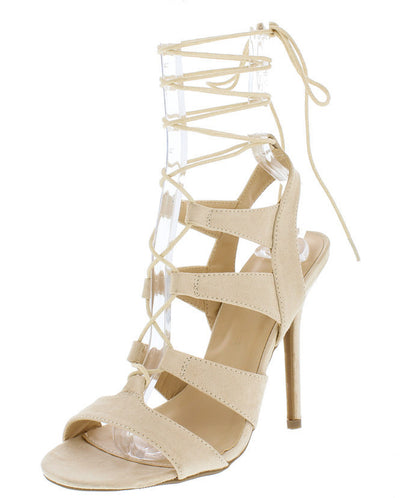 Adele236 Natural Strappy Lace Up Open Toe Stiletto Heel - Wholesale Fashion Shoes