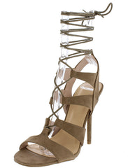 ADELE236 TAUPE STRAPPY LACE UP OPEN TOE STILETTO HEEL - Wholesale Fashion Shoes