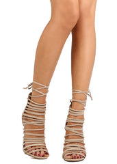 ADELE328 NATURAL OPEN TOE MULTI STRAP LACE UP HEEL - Wholesale Fashion Shoes