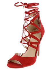 ADELE329 RED OPEN TOE MULTI CUT OUT LACE UP HEEL - Wholesale Fashion Shoes