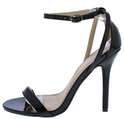 Adele94 Black Patent Open Toe Cross Back Ankle Strap Heel - Wholesale Fashion Shoes