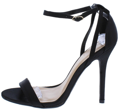 Adele94 Black Satin Open Toe Cross Back Ankle Strap Heel - Wholesale Fashion Shoes