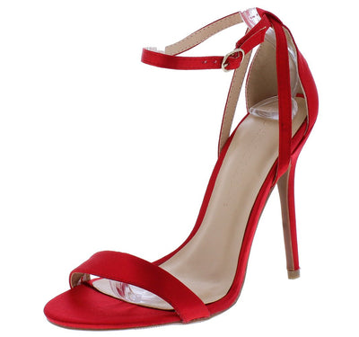 Adele94 Red Open Toe Cross Back Ankle Strap Heel - Wholesale Fashion Shoes
