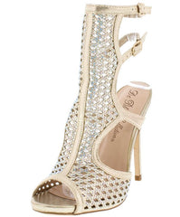 ADOBE1 NUDE RHINESTONE PEEP TOE DOUBLE BUCKLE HEEL - Wholesale Fashion Shoes