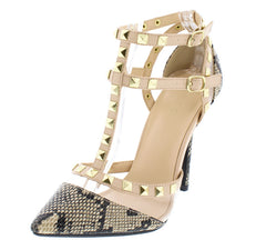 ADORA119 NATURAL SNAKE POINTED STUDDED HEEL - Wholesale Fashion Shoes