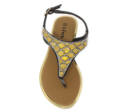 ADRIEL14K BLACK RHINESTONE SCALE KIDS SANDAL - Wholesale Fashion Shoes