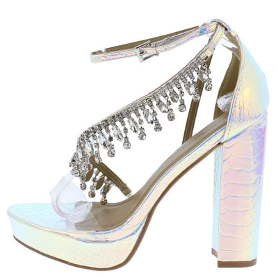 Affair Hologram Lucite Open Toe Rhinestone Strap Platform Heel - Wholesale Fashion Shoes
