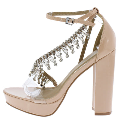 Affair Nude Lucite Open Toe Rhinestone Strap Platform Heel - Wholesale Fashion Shoes