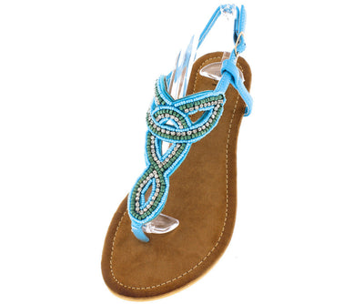 Agata Blue Bead and Rhinestone Embellished Women's Sandal - Wholesale Fashion Shoes