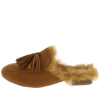 Agogo Chestnut Furry Women's Loafer Flat - Wholesale Fashion Shoes