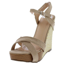 PAISLEY279 TAUPE SUEDE OPEN TOE ANKLE STRAP CUT OUT WEDGE