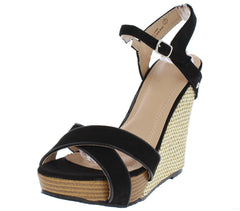 PAISLEY279 BLACK SUEDE OPEN TOE ANKLE STRAP CUT OUT WEDGE - Wholesale Fashion Shoes