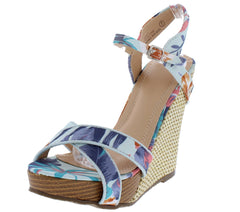PAISLEY279 FLORAL OPEN TOE ANKLE STRAP CUT OUT WEDGE - Wholesale Fashion Shoes
