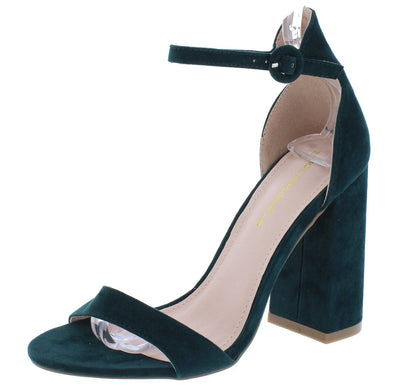 Aimee Hunter Green Open Toe Ankle Strap Tall Chunky Heel - Wholesale Fashion Shoes