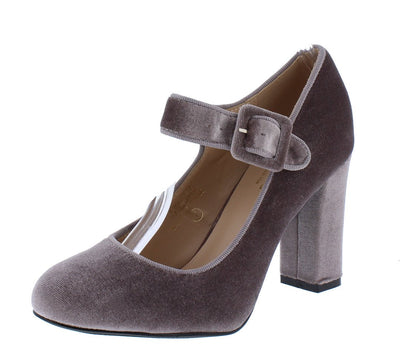 Ajersey12 Grey Velvet Mary Jane Chunky Heel - Wholesale Fashion Shoes