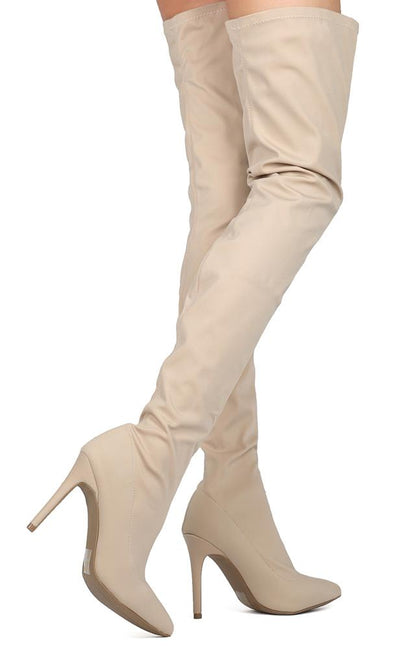 Akira203 Natural Stretch Thigh High Stiletto Boot - Wholesale Fashion Shoes