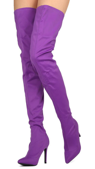 Akira203 Purple Stretch Thigh High Stiletto Boot - Wholesale Fashion Shoes