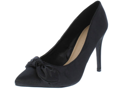 Akira212 Black Knotted Bow Pointed Toe Stiletto Heel - Wholesale Fashion Shoes