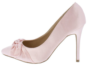 eda5ab471a72f4 Akira212 Blush Knotted Bow Pointed Toe Stiletto Heel - Wholesale Fashion  Shoes