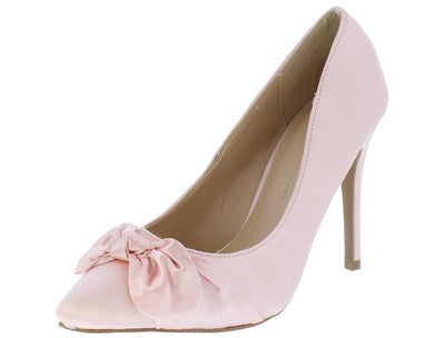 Akira212 Blush Knotted Bow Pointed Toe Stiletto Heel - Wholesale Fashion Shoes