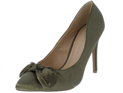 Akira212 Olive Green Knotted Bow Pointed Toe Stiletto Heel - Wholesale Fashion Shoes