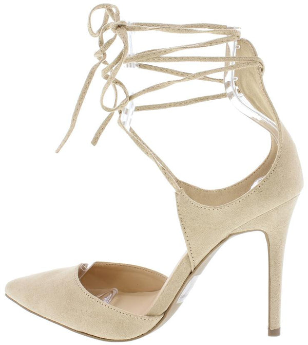 d88466a11e7 Akira83 Natural Pointed Toe Ankle Wrap Stiletto Heel