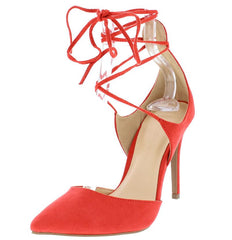 AKIRA83 HOT CORAL POINTED TOE ANKLE WRAP STILETTO HEEL - Wholesale Fashion Shoes