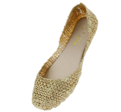Alaska9 Gold Geometric Laser Cut Dorsay Jelly Ballet Flat - Wholesale Fashion Shoes