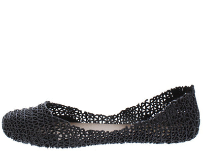 Alaska9 Black Geometric Laser Cut Dorsay Jelly Ballet Flat - Wholesale Fashion Shoes