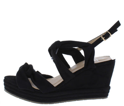 Alba1 Black Dual Knotted Open Toe Slingback Platform Wedge - Wholesale Fashion Shoes