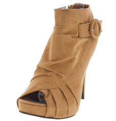 ALBERTA NUDE RUCHED PEEP TOE BUCKLE HEEL - Wholesale Fashion Shoes