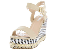 ALETAC1 NUDE BRAIDED HEMP EMBROIDERED PLATFORM WEDGE - Wholesale Fashion Shoes