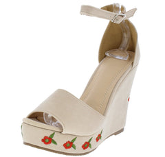 ELIZABETH264 NUDE SUEDE OPEN TOE ANKLE STRAP ROSES WEDGE - Wholesale Fashion Shoes