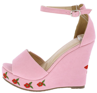 Elizabeth264 Pink Suede Open Toe Ankle Strap Roses Wedge - Wholesale Fashion Shoes