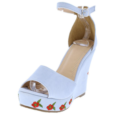 Elizabeth264 Serenity Blue Suede Open Toe Ankle Strap Roses Wedge - Wholesale Fashion Shoes