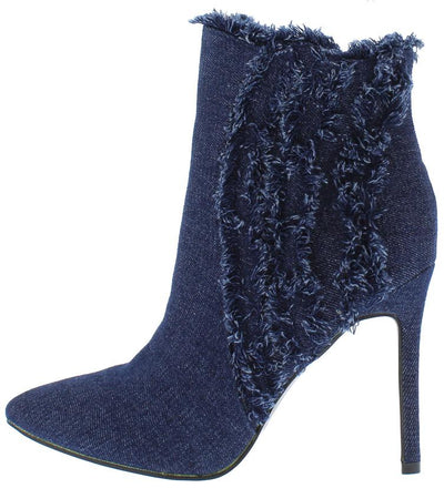 Alexia11 Dark Blue Denim Frayed Pointed Toe Ankle Boot - Wholesale Fashion Shoes