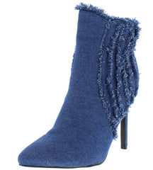 ALEXIA11 LIGHT BLUE DENIM FRAYED POINTED TOE ANKLE BOOT - Wholesale Fashion Shoes