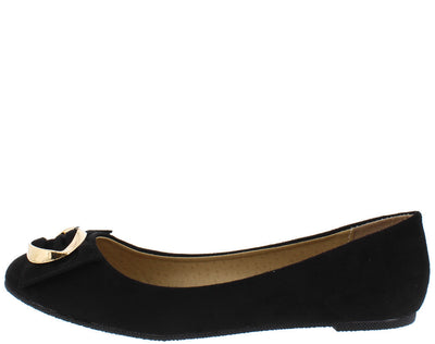 Alfany8 Black Gold Buckle Bow Almond Toe Flat - Wholesale Fashion Shoes